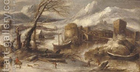 An Italianate winter landscape with fishermen by a river by (after) Willem Von Bemmel - Reproduction Oil Painting