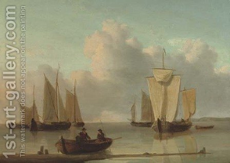 Dutch barges drying their sails offshore by (after) William Anderson - Reproduction Oil Painting