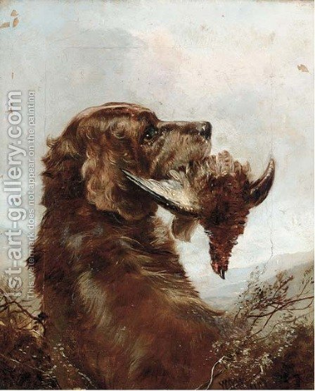 A gun dog with a grouse by (after) William Woodhouse - Reproduction Oil Painting