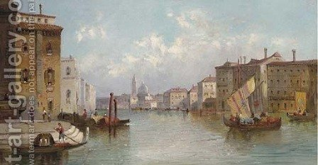 Trading vessels on the Grand Canal, Venice by (after) William Meadows - Reproduction Oil Painting