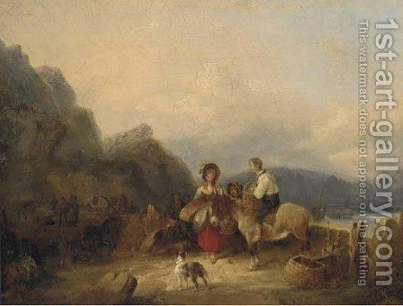 Fisherfolk on a beach by (after) William Snr Shayer - Reproduction Oil Painting