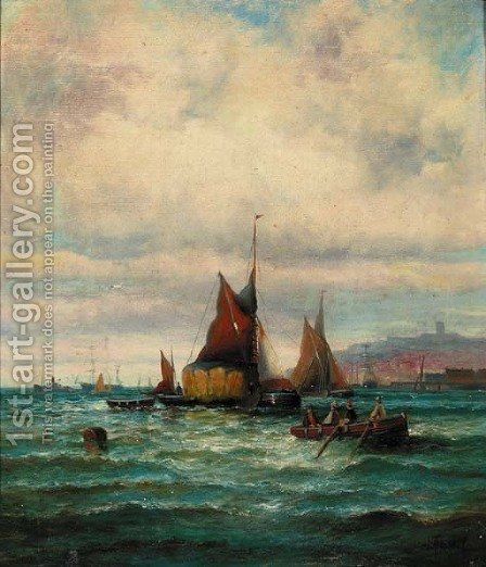 Shipping off a harbour by (after) William A. Thornley Or Thornbery - Reproduction Oil Painting