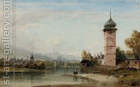 View of an Eastern European city from the river by (after) William Wyld - Reproduction Oil Painting