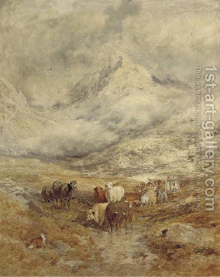 Cattle in a highland landscape by (after) William Joseph Julius Caesar Bond - Reproduction Oil Painting