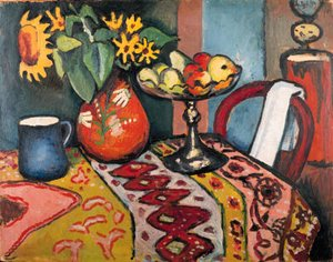 Famous paintings of Furniture: Stilleben mit Sonnenblumen II