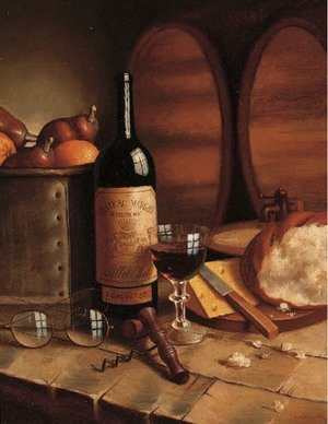 A bottle of Chateau Margaux, a goblet, fruit, bread, cheese and spectacles on a table