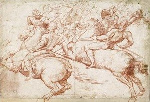 Reproduction oil paintings - Boccaccio Boccaccino - Studies After Raphael Two Horsemen Recoiling, With Soldiers In The Background
