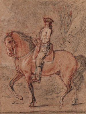 A gentleman wearing a tricorn hat on horseback in a landscape A study for an equestrian portrait of King Louis XV