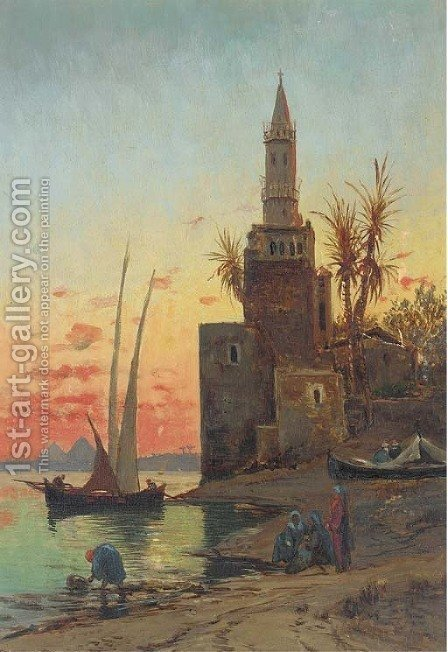 Sunset on the Nile, the Pyramids beyond by (after)  Hermann David Salomon Corrodi - Reproduction Oil Painting