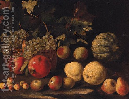 Grapes in a basket with a melon by (after) Abraham Brueghel - Reproduction Oil Painting