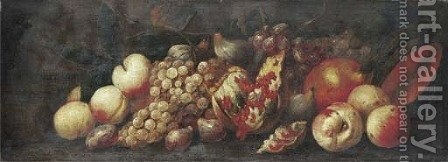 Peaches, grapes on the vine, figs by (after) Abraham Brueghel - Reproduction Oil Painting