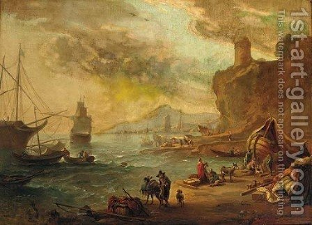 A Mediterranaen coastal inlet with a moored man-o'-war by (after) Abraham Jansz. Begeyn - Reproduction Oil Painting
