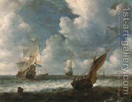 A Dutch kaag close hauled in a stiff breeze with men-o-war beyond by (after) Abraham Hendrickz Van Beyeren - Reproduction Oil Painting
