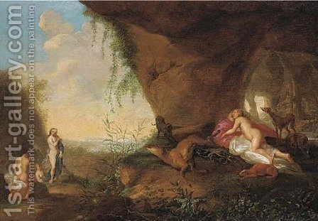 Diana and her nymphs resting by a cave by (after) Abraham Van Cuylenborch - Reproduction Oil Painting