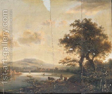 A river landscape with herdsmen, a castle on the far shore by (after) Abraham Van, I Strij - Reproduction Oil Painting