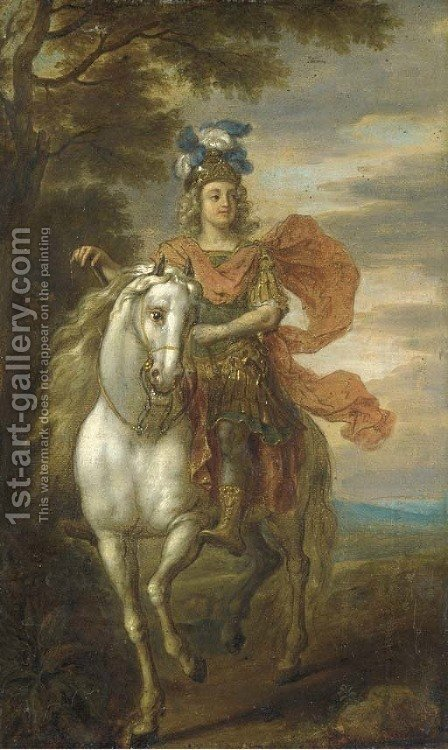 An equestrian portrait, possibly of Johann William, Elector Palatine (1658-1716) by (after) Adam Frans Van Der Meulen - Reproduction Oil Painting