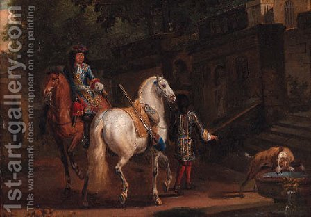 Elegant horsemen by a fountain by (after) Adam Frans Van Der Meulen - Reproduction Oil Painting