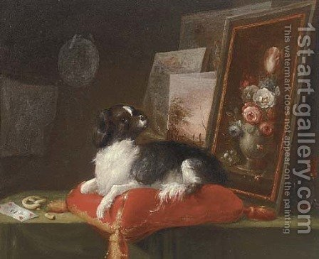 A spaniel lying on a cusion with paintings by (after) Adriaen Cornelisz. Beeldemaker - Reproduction Oil Painting