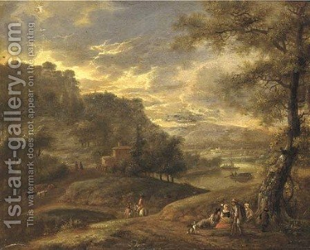 An extensive wooded river landscape with travellers resting on a path by (after) Adriaen Frans Boudewijns - Reproduction Oil Painting