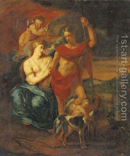 Venus and Adonis 2 by (after) Adriaen Van Der Werff - Reproduction Oil Painting