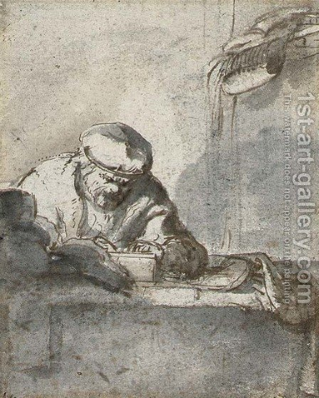 A man seated at a table writing by (after) Adriaen Jansz. Van Ostade - Reproduction Oil Painting