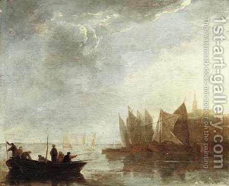 Fishermen on the river Scheldt, a view of Dordrecht beyond by (after) Aelbert Cuyp - Reproduction Oil Painting
