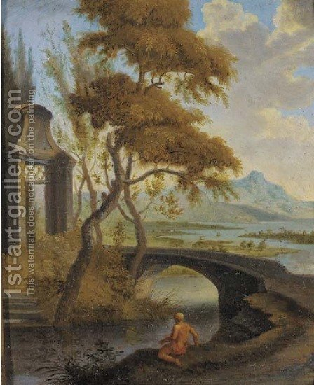 An extensive river landscape with a bather by a bridge by (after) Aelbert Meyeringh - Reproduction Oil Painting