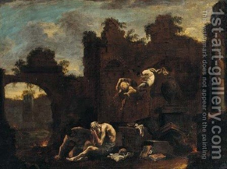 A capriccio of ruins with Saint Antohny tormented by demons by (after) Alessandro Magnasco - Reproduction Oil Painting