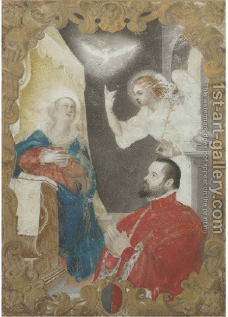The Holy Spirit with an angel, the Madonna and a portrait of the Doge by (after) Alessandro Merli - Reproduction Oil Painting