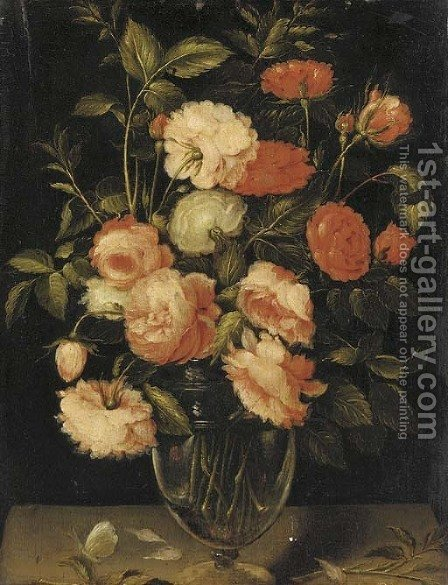 Red, pink and white roses in a glass vase with a butterfly on a ledge by (after) Alexander Adriaenssen - Reproduction Oil Painting