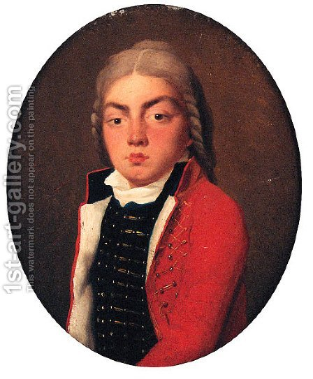 Portrait of a young Man, small half-length, in uniform by (after) Alexander Roslin - Reproduction Oil Painting