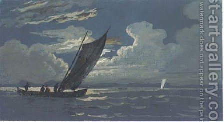 A fishing boat by (after) Alexandre-Jean Noel - Reproduction Oil Painting