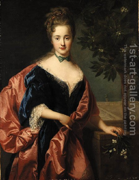 Portrait of a Lady by (after) Alexis-Simon Belle - Reproduction Oil Painting