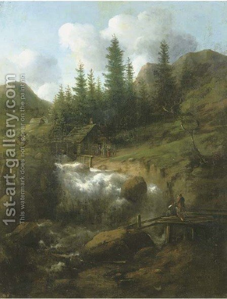 A rocky Nordic landscape with a waterfall and wooden barns, two figures on a bridge in the foreground by (after) Allart Van Everdingen - Reproduction Oil Painting