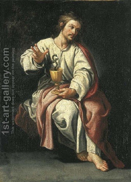 Saint John the Evangelist and the poisoned chalice by (after) Alonso Cano - Reproduction Oil Painting