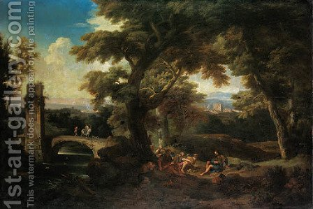 An Italianate wooded river landscape with pilgrims resting, a ruined tower and a bridge beyond by (after) Andrea Locatelli - Reproduction Oil Painting