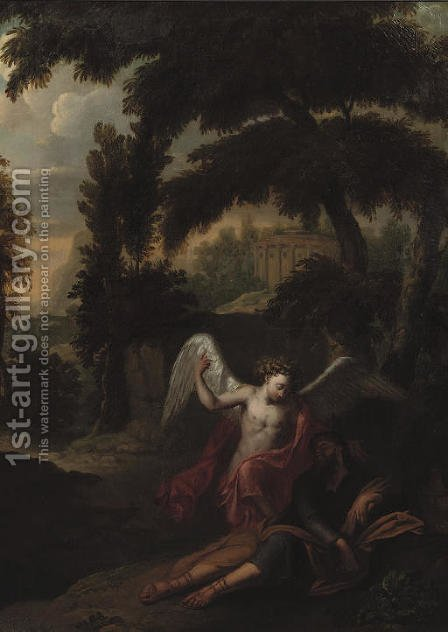 The Angel visiting Jacob in a wooded landscape by (after) Andrea Locatelli - Reproduction Oil Painting