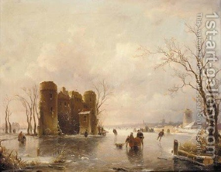 Figures skating on a frozen pond, windmills beyond by (after) Andreas Schelfhout - Reproduction Oil Painting