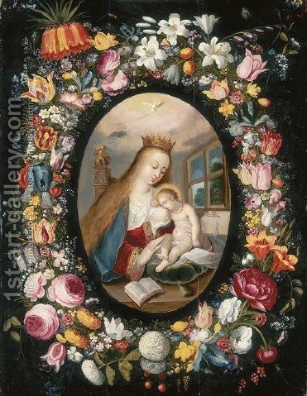 A garland of flowers surrounding a medallion of the Virgin and Child by (after) Andries Daniels - Reproduction Oil Painting