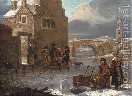 A winter landscape with figures fishing on a frozen river by (after) Andries Vermeulen - Reproduction Oil Painting