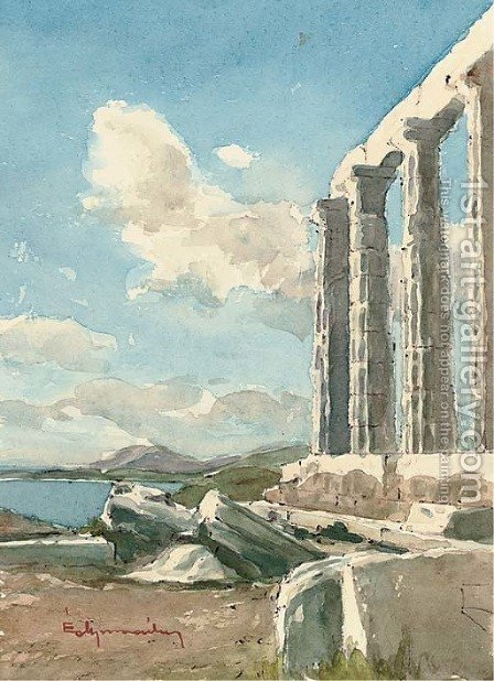 The Temple of Poseidon, Cape Sunion, Attica by (after) Angelos Giallina - Reproduction Oil Painting