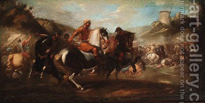 A cavalry skirmish by (after) Aniello Falcone - Reproduction Oil Painting
