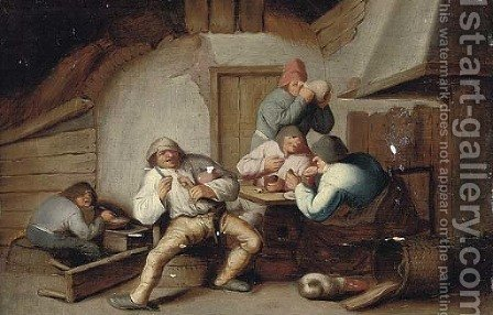 Peasants drinking at a table by (after) Anthonie Victorijns - Reproduction Oil Painting