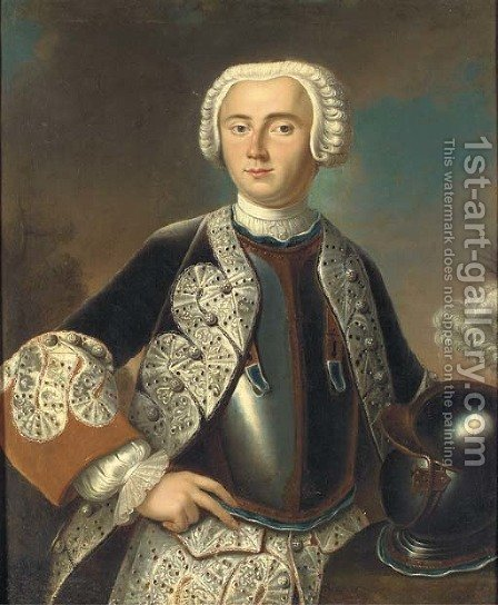 Portrait of Friedrich, Margrave von Brandenburg-Bayreuth (1711-1763), half-length, wearing a grey coat with white facings by (after) Pesne, Antoine - Reproduction Oil Painting