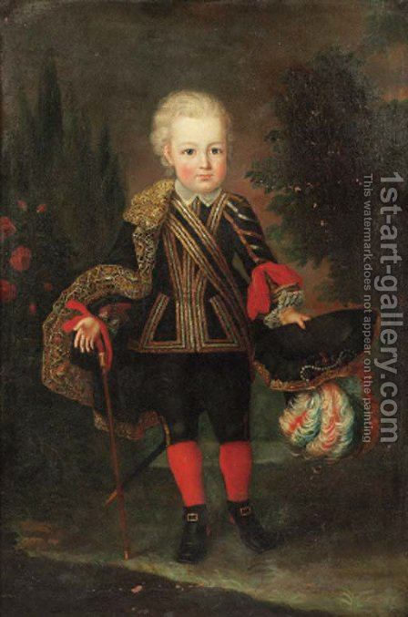 Portrait of a young boy, standing full length in a landscape, wearing a gold embroidered black costume with lace chemise by (after) Mengs, Anton Raphael - Reproduction Oil Painting