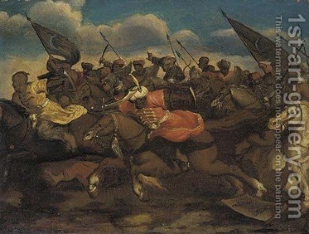 A Turkish cavalry charge by (after) Antonio Calza - Reproduction Oil Painting
