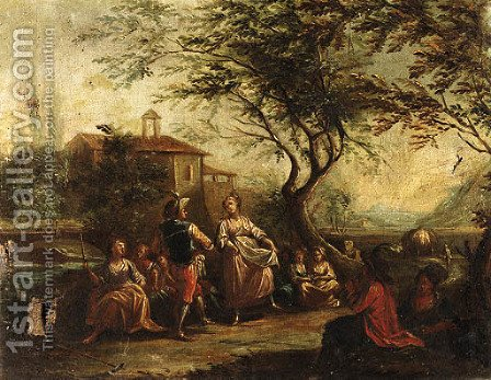 Travellers conversing by a River by (after) Antonio Diziani - Reproduction Oil Painting