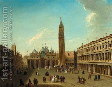 The Piazza San Marco, Venice, looking east, with a performance of the Commedia dell'Arte beneath the Campanile by (after) Antonio Joli - Reproduction Oil Painting