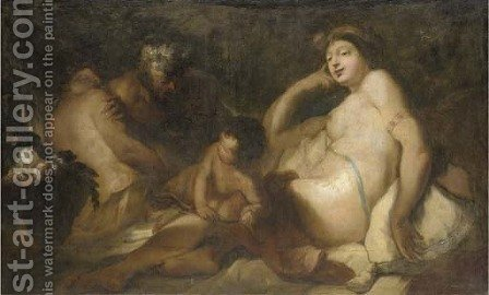 Venus and Bacchus with cupid and a satyr by (after) Antonio Molinari - Reproduction Oil Painting