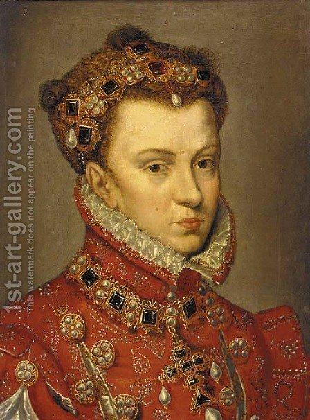 Portrait of Elizabeth of Valois, Queen of Spain by (after) Antonis Mor - Reproduction Oil Painting